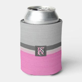 Porta-lata Monograma cor-de-rosa e cinzento do tom dois