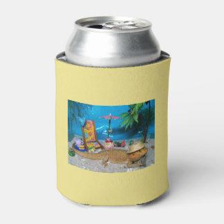 """Porta-lata O dragão farpado """"vida é cerveja de uma praia"""""""