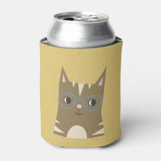 Porta-lata O gato de gato malhado com vidros   adiciona seu
