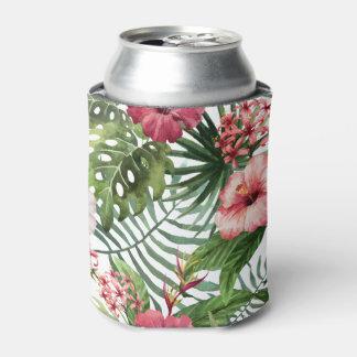 Porta-lata O hibiscus tropical floresce o teste padrão da