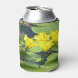 Porta-lata Os lírios de água amarela com libélula podem