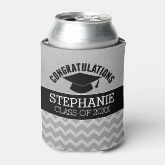 Porta-lata Os parabéns graduam - a graduação preta de prata