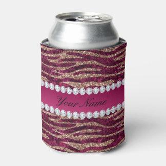 Porta-lata Ouro cor-de-rosa das listras da zebra da folha do