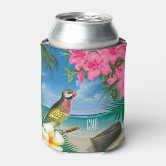 Porta-lata Parakeet bonito em um design tropical do oceano