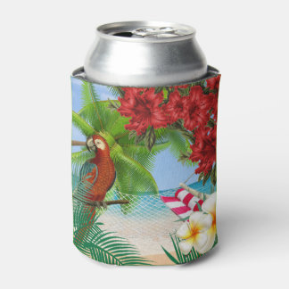 Porta-lata Parakeet em uma praia tropical