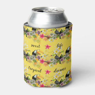 Porta-lata Pássaros de Toucan, flores da paixão, Plumeria