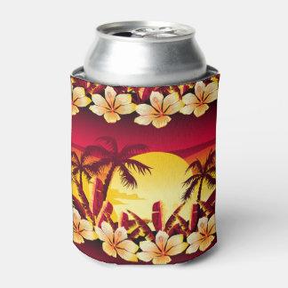 Porta-lata Por do sol tropical com palmas