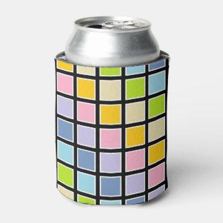 Porta-lata Quadrados Pastel esboçados branco do arco-íris