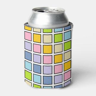 Porta-lata Quadrados Pastel esboçados preto do arco-íris