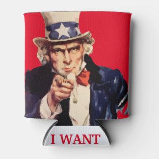Porta-lata Refrigerador patriótico da lata do tio Sam dos EUA