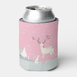 Porta-lata Rena e coelho do inverno na neve de queda