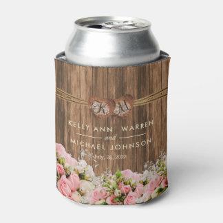 Porta-lata Rosas cor-de-rosa e brancos bonitos na madeira