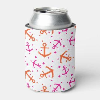 Porta-lata Teste padrão alaranjado cor-de-rosa náutico