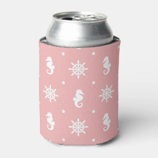Porta-lata Teste padrão coral cor-de-rosa náutico