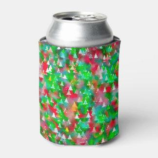 Porta-lata Teste padrão da aguarela da árvore de Natal