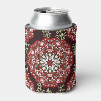 Porta-lata Teste padrão de flor circular vermelho chique