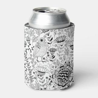 Porta-lata Teste padrão do doodle do pássaro e das flores