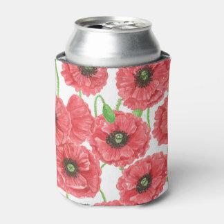 Porta-lata Teste padrão floral das papoilas da aguarela