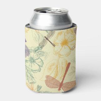 Porta-lata Teste padrão floral na folha da libélula do estilo