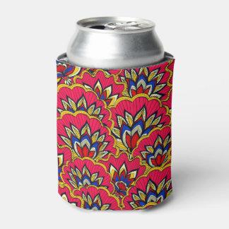 Porta-lata Teste padrão floral vibrante vermelho asiático