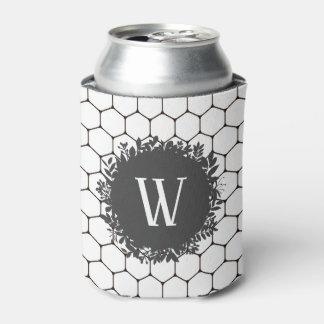 Porta-lata Teste padrão preto e branco da colmeia com
