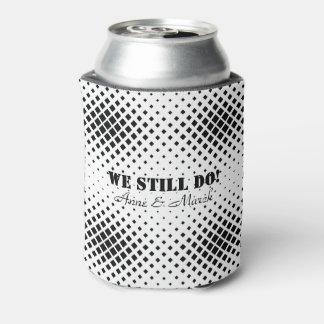 Porta-lata Teste padrão quadrado preto e branco elegante nós