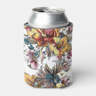 Porta-lata Teste padrão tirado realístico do buquê floral