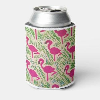 Porta-lata Teste padrão tropical dos flamingos cor-de-rosa