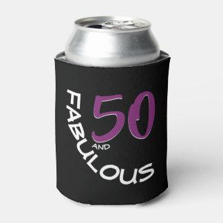 Porta-lata Tipografia roxa & branca 50 e aniversário fabuloso