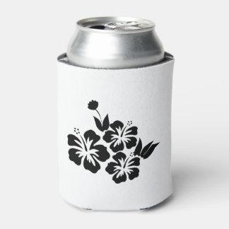 Porta-lata Três flores tropicais do hibiscus preto