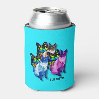 Porta-lata Três gatos psicadélicos com asas da borboleta