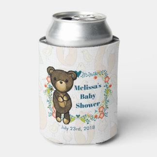 Porta-lata Urso de ursinho com o chá de fraldas floral da