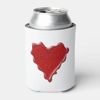 Porta-lata Urze. Selo vermelho da cera do coração com urze