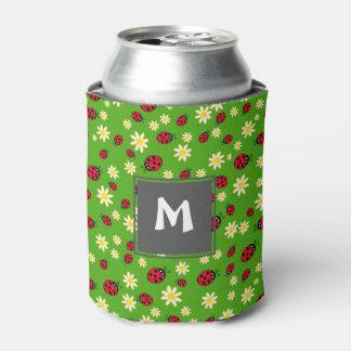 Porta-lata verde bonito do teste padrão de flor do joaninha e