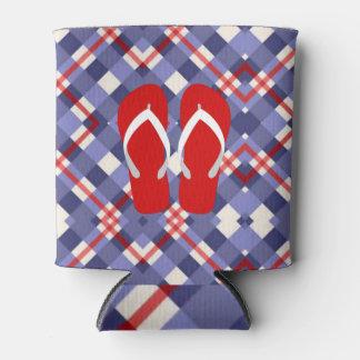 Porta-lata Xadrez vermelha, branca e azul com chinelos