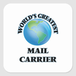 Portador de correio do mundo o grande adesivo quadrado