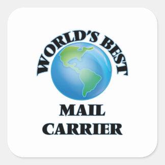 Portador de correio do mundo o melhor adesivo quadrado