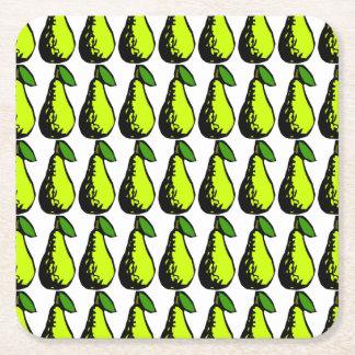 Portas copos da fruta da pera do Woodcut dos Porta-copo De Papel Quadrado