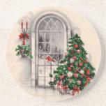 Portas copos da janela do natal vintage porta-copos