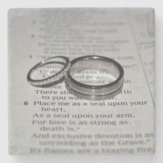 Portas copos das alianças de casamento porta-copos de pedra