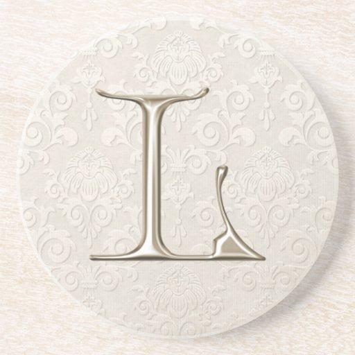 Portas copos do damasco do monograma - letra L Porta-copo