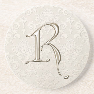 Portas copos do damasco do monograma - letra R Porta Copos De Arenito
