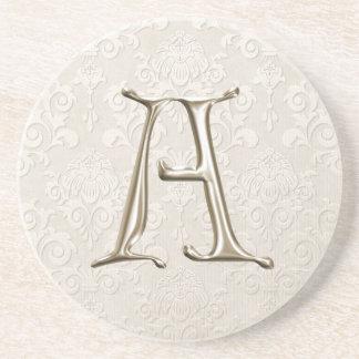 Portas copos do damasco do monograma - rotule A Porta Copos De Arenito