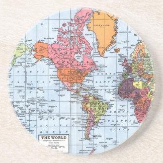 Portas copos do mapa do mundo porta copos para bebidas