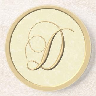 Portas copos do monograma - letra D Porta Copos De Arenito