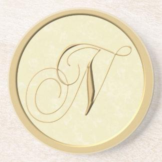 Portas copos do monograma - letra N Porta Copos De Arenito