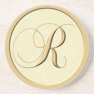 Portas copos do monograma - letra R Porta Copos De Arenito