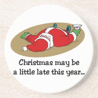 Portas copos engraçadas do Natal Porta Copos De Arenito