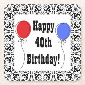 Portas copos felizes do aniversário de 40 anos, porta-copo de papel quadrado