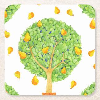 Portas copos quadradas das peras da árvore de pera porta-copo de papel quadrado